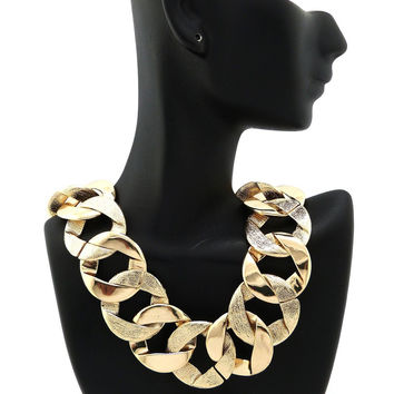 Goldtone Frosted Two Tone 30mm 18 Inch Link Design Chain