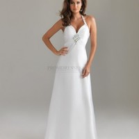 A-line Halter Long White Jewel Prom Dress