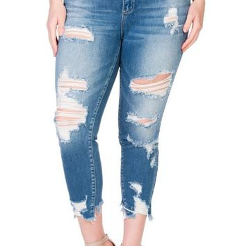 Curvy Heavy Destroyed Skinny Ankle Jean