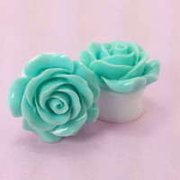 "SALE (20% OFF!) Buy 2 Pairs/get 3rd FREE! Large Turquoise Blue Flower Rose Plugs/Gauges 3/4"" 7/8"" 1"" 1 1/16"" 1 1/8"""