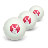 Geometric Rabbit Pink Novelty Table Tennis Ping Pong Ball 3 Pack