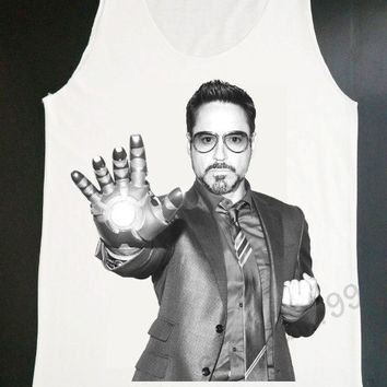 Robert Downey Jr Shirt Movie Shirt Actor Shirt Iron Man Shirt Tunic Women Tank Top White Shirt Tunic Top Vest Sleeveless Women Shirt (S,M,L)