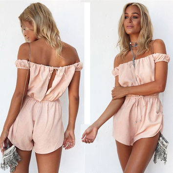 Women's Fashion Summer Hollow Out Jumpsuit [11597198223]