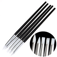 5Pcs Soft Silicone Nail Art design stamp Pen Brush Carving Craft Pottery Sculpture UV Gel Building brushes Pencil DIY Tools