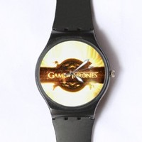 Custom Game of Thrones Watches Classic Black Plastic Watch WT-0818