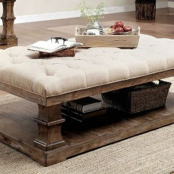 Furniture of america CM4457F-C Granard antique oak finish wood tufted fabric top coffee table