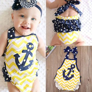 Newborn Kid Baby Girls Anchor Clothes Bodysuit Romper Jumpsuit Outfits USA wea