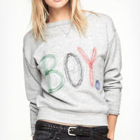 "Gray ""BOY."" Print Sweatshirt"