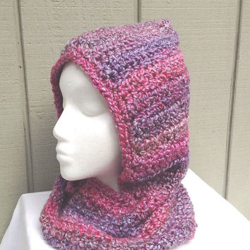 Girls hooded cowl - Circle scarf with hood - Hooded scarf - Girls accessories