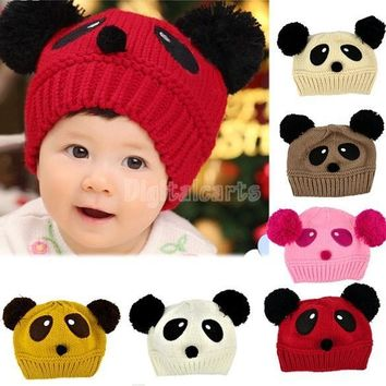 2016 Baby Winter Hat Toddler Girls/Boys Knitting Cap Cartoon Loverly Panda Crochet Beanies Hat Wool Knitted Hat [7942675271]