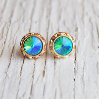 Aqua Blue Green Earrings  Small Sugar Sparklers  by MASHUGANA