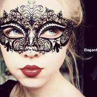 Classic Black Metal Laced Metallic Masquerade Mask