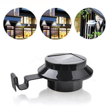 3 LED Solar Powered Outdoor Light Fence Yard Wall Gutter Pathway Garden Black
