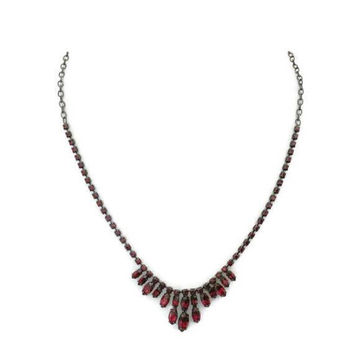 Garnet Red Rhinestone Necklace, On Antique Silver Tone Chain, Prom, Formal