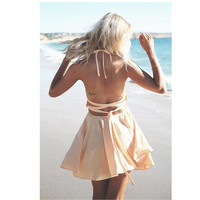 Pink Backless Flounced Dress