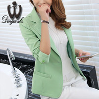 Korean ladies ol Jacket suit long-sleeved Solid color Women blazers Plus size slim Small coat Fashion Female outerwear