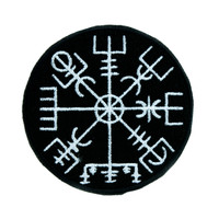 Vegvisir Viking Compass Symbol Patch Iron on Applique Alternative Clothing Norse Warrior