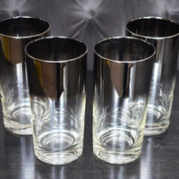 Vitreon Queen's Lustreware, Mercury Fade; Silver Ombre Highball Glasses or Tumblers; 1960s Set of 4 mid century modern