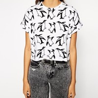 ASOS Cropped Boyfriend T-Shirt with Christmas Penguin Print at asos.com