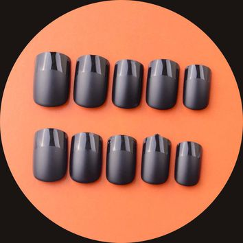 Hot Sale 3Sets Matte French False Fails faux ongles French Manucure Artificial Nails Black Nail Tips Acrylic UV Nail Art Tools