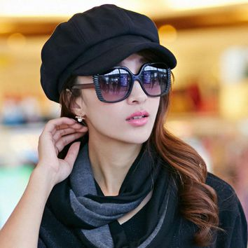 Fabys 2017 Pure Candy Colors Cotton Women Beret Hat Cap Girls Beret Autumn Winter British Style French Tweed Boina Feminina Hats