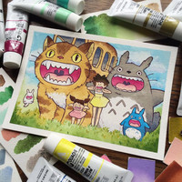 Anime Watercolor Cute Bus Print by Michelle Coffee