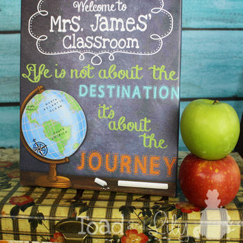 Teacher Chalkboard Classroom with World Globe Quotation Saying CANVAS Teacher End of Year Christmas Present Gift TCS007