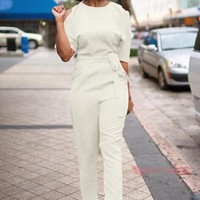 White Cut Out Sashes Zipper High Waisted Drawstring Waist Office Long Jumpsuit