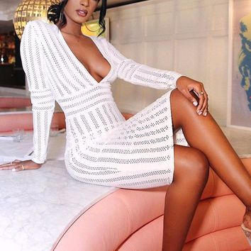 Above The Crowd White Vertical Stripe Pattern Long Sleeve Plunge V Neck Bodycon Bandage Midi Dress