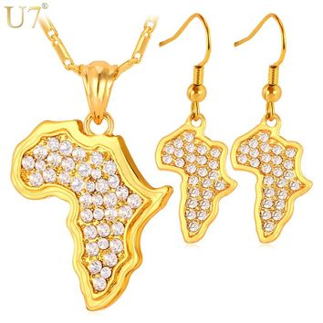 U7 Africa Map Pendant Necklace And Earrings Set
