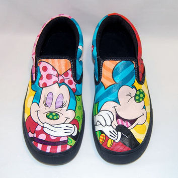 Hand Painted Mickey & Minnie Pop Art Shoes