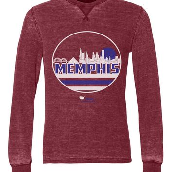 Memphis Skyline in Blue & White Unisex Burnout Thermal