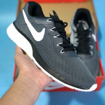 KUYOU N592 Nike Roshe 3.0 Flyknit MD Casual Running Shoes Grey White