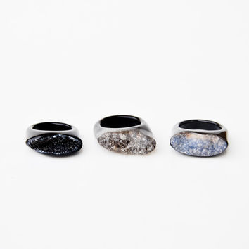 Brazillian Black Agate Druzy Ring