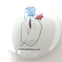 Whimsical Drawing of Winged Man Pin On Collectable Art Button, Blue And Red Devil/Demon Winged Man, Man With Tiny Bat Wings Hands In Pockets