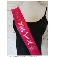 Bridal Shower Sash - for Bride to Be to Wear at Bridal Shower or Bachelorette Party Personalized Sash Hen Night - Fast Shipping