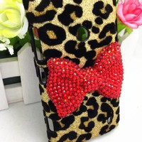 Bling Shiny 3D Pink Bow Leopard Special Party Case Cover For Nokia Lumia 520 (Red Bow)