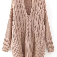 Khaki V-Neck Cable Knit Pullover