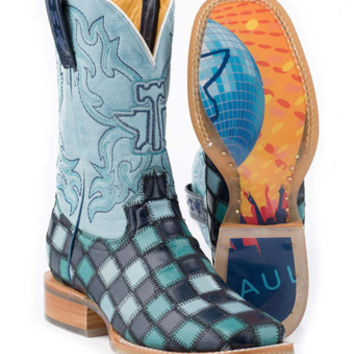 Western Boot Sales - Online Western Store - Tin Haul® Ladies Square Toe Boot - Blue Lagoon/Rave, Footwear, 14-021-0007-0185-BU