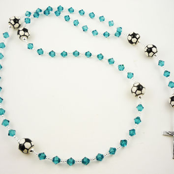 Birthstone Soccer First Communion Rosary Prayer Beads, Gift for Boys/ Girls with Swarovski Crystals & Sterling Silver Cross