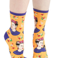ModCloth Darling Frida Express Yourself Socks in Yellow