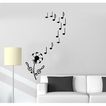 Vinyl Wall Decal Dandelion Flower Music Notes Clef Stickers (3516ig)