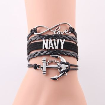 Infinity Love NAVY Bracelet Anchor Charm Leather Wrap Men / Women Bracelets