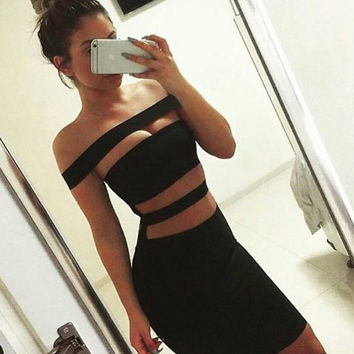 Lucille Stripped Cut-Out Dress