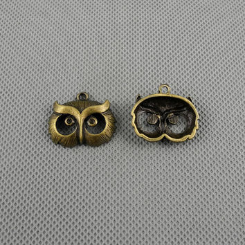 2x Making Jewellery Supply Retro Clasp Pendentif Jewelry Findings Charms Schmuckteile Charme 4-A1722 Owls Head