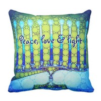 """Peace, Love & Light"" Blue Hanukkah Menorah Photo Throw Pillow"