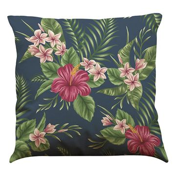 African Tropical Plants Leaves Flowers Linen Printed Square Throw Pillow Covers