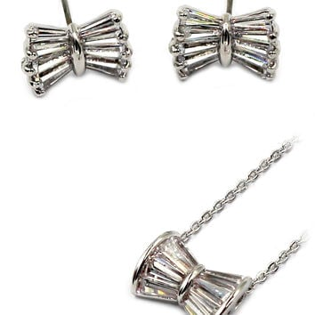loverly butterfly crystal silver necklect earring set