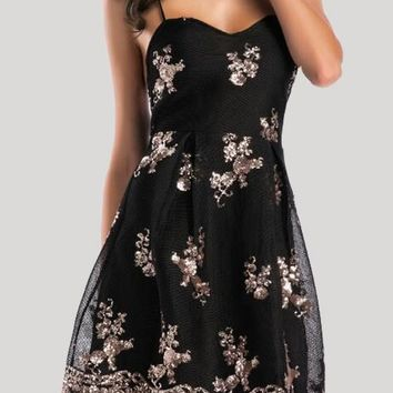 Black Floral Sequin Embroidery Cross Back Backless V-neck Tutu Birthday Party Mini Dress