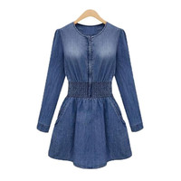 Women Jeans Dress Elegant Autumn Long Sleeve Slim Waist Denim Dresses = 1929825668
